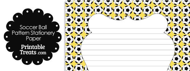 Yellow Soccer Ball Pattern Stationery Paper