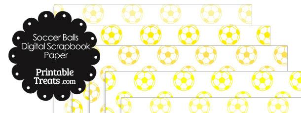 Yellow Soccer Digital Scrapbook Paper