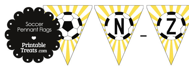 Yellow Soccer Party Flag Letters N-Z