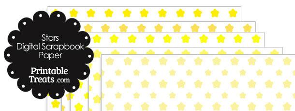 Yellow Star Digital Scrapbook Paper
