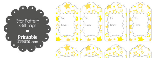 Yellow Star Pattern Gift Tags