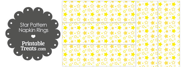 Yellow Star Pattern Napkin Rings