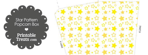 Yellow Star Pattern Popcorn Box