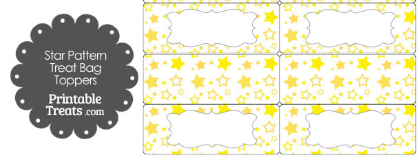 Yellow Star Pattern Treat Bag Toppers
