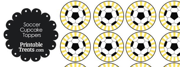 Yellow Sunburst Soccer Cupcake Toppers