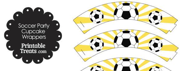 Yellow Sunburst Soccer Cupcake Wrappers