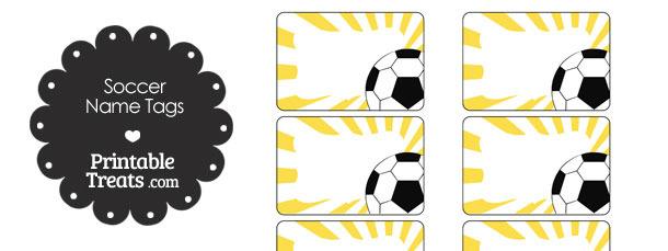 Yellow Sunburst Soccer Name Tags