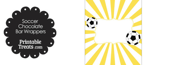 Yellow Sunburst Soccer Party Candy Wrappers