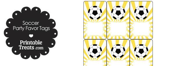 Yellow Sunburst Soccer Party Favor Tags