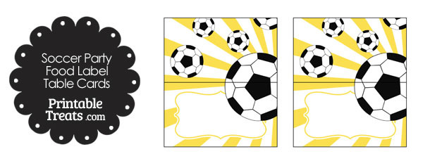 Yellow Sunburst Soccer Party Food Labels
