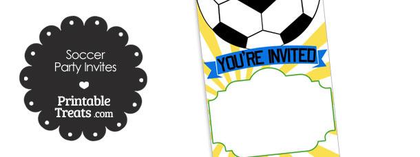 Yellow Sunburst Soccer Party Invites