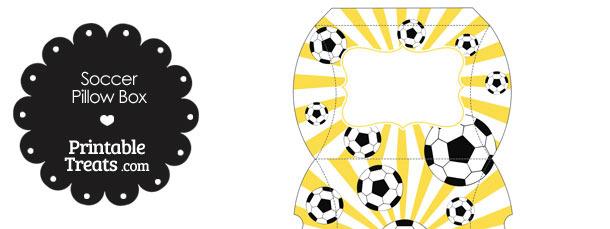 Yellow Sunburst Soccer Party Large Pillow Boxes