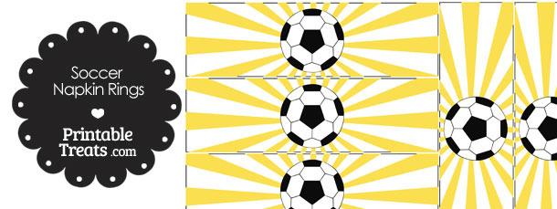Yellow Sunburst Soccer Party Napkin Rings