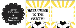 Yellow Sunburst Soccer Party Signs