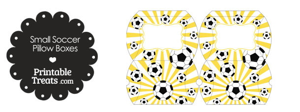 Yellow Sunburst Soccer Party Small Pillow Boxes