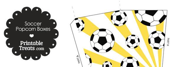 Yellow Sunburst Soccer Popcorn Boxes