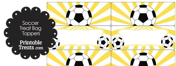 Yellow Sunburst Soccer Treat Bag Toppers