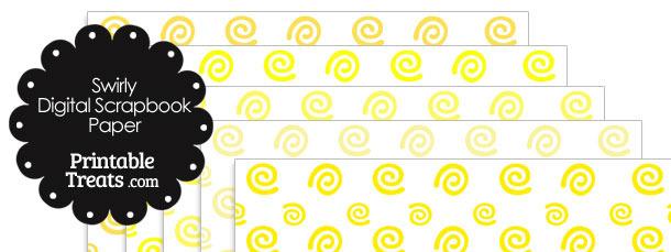Yellow Swirls Digital Scrapbook Paper