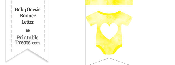 Yellow Watercolor Baby Onesie Bunting Banner Heart End Flag