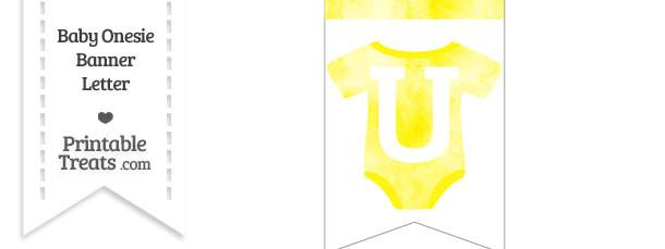 Yellow Watercolor Baby Onesie Bunting Banner Letter U