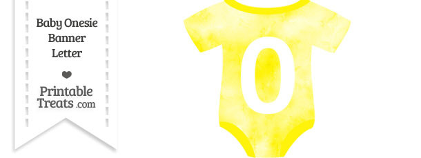 Yellow Watercolor Baby Onesie Shaped Banner Number 0