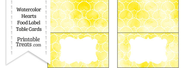 Yellow Watercolor Hearts Food Labels