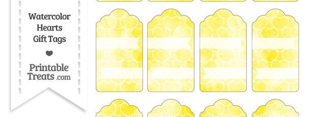 Yellow Watercolor Hearts Gift Tags