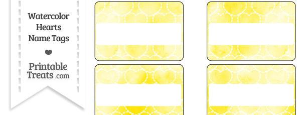 Yellow Watercolor Hearts Name Tags