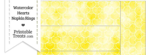 Yellow Watercolor Hearts Napkin Rings