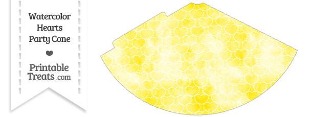 Yellow Watercolor Hearts Party Cone