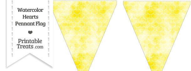 Yellow Watercolor Hearts Pennant Banner Flag