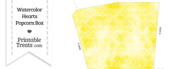 Yellow Watercolor Hearts Popcorn Box