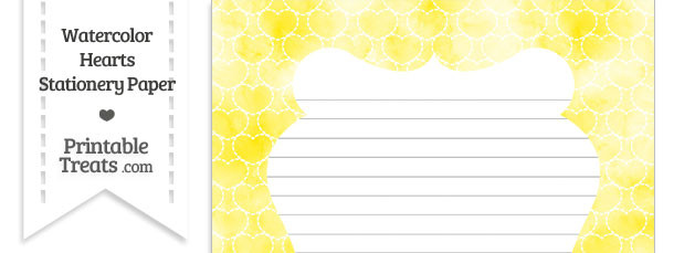 Yellow Watercolor Hearts Stationery Paper