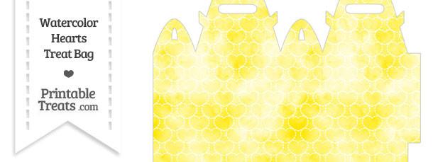 Yellow Watercolor Hearts Treat Bag