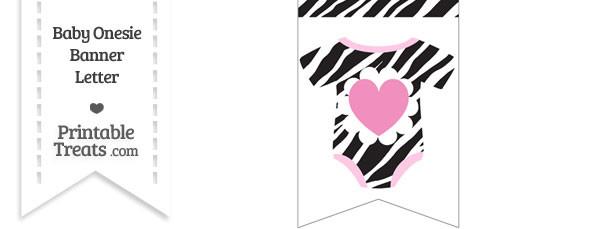 Zebra Print Baby Onesie Bunting Banner Heart End Flag