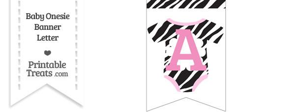 Zebra Print Baby Onesie Bunting Banner Letter A