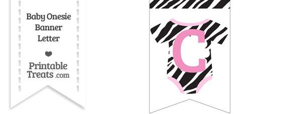 Zebra Print Baby Onesie Bunting Banner Letter C