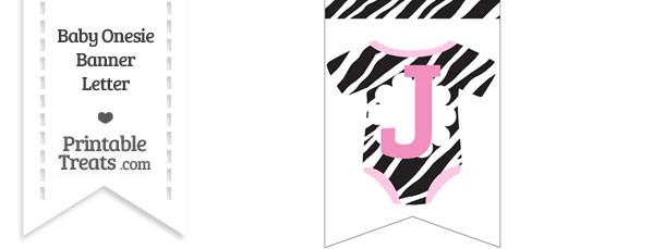 Zebra Print Baby Onesie Bunting Banner Letter J