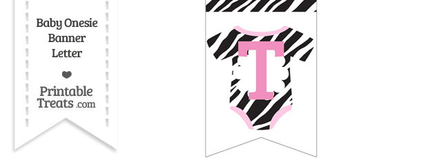 Zebra Print Baby Onesie Bunting Banner Letter T