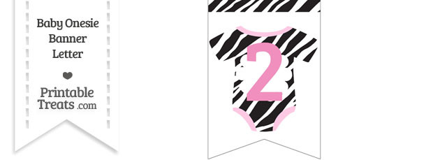 Zebra Print Baby Onesie Bunting Banner Number 2