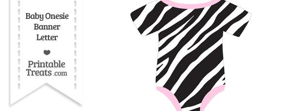Zebra Print Baby Onesie Shaped Banner Blank Spacer Flag