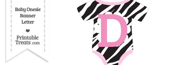 Zebra Print Baby Onesie Shaped Banner Letter D