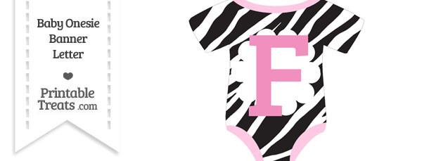 Zebra Print Baby Onesie Shaped Banner Letter F