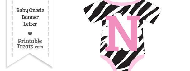 Zebra Print Baby Onesie Shaped Banner Letter N