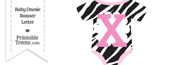 Zebra Print Baby Onesie Shaped Banner Letter X