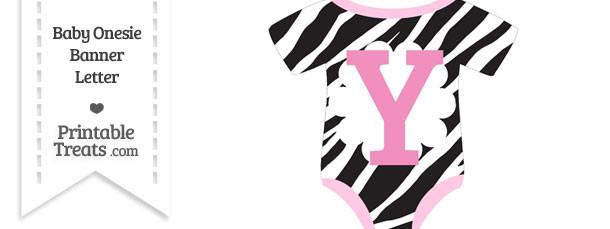 Zebra Print Baby Onesie Shaped Banner Letter Y