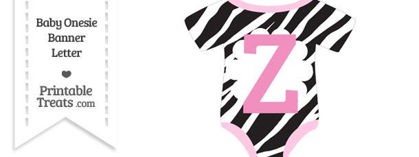 Zebra Print Baby Onesie Shaped Banner Letter Z