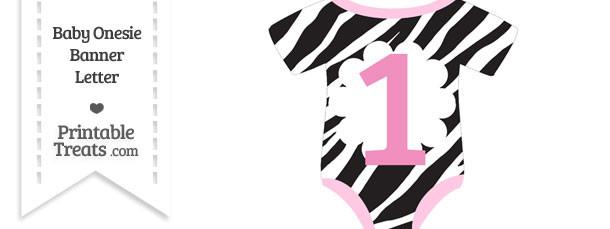 Zebra Print Baby Onesie Shaped Banner Number 1
