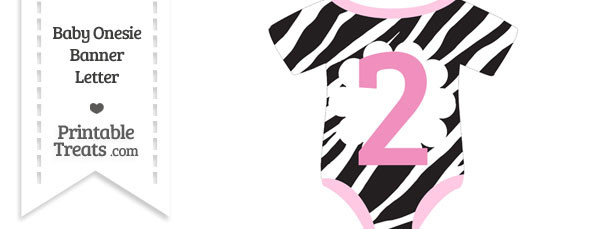 Zebra Print Baby Onesie Shaped Banner Number 2
