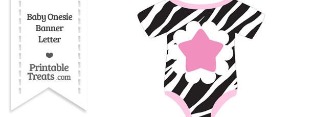 Zebra Print Baby Onesie Shaped Banner Star End Flag